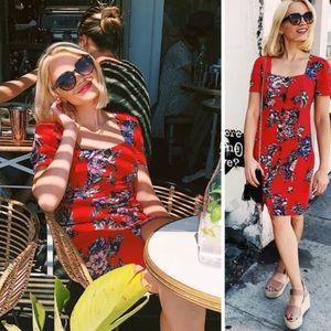 Anthropologie Maeve Burton Down red Floral Dress 2